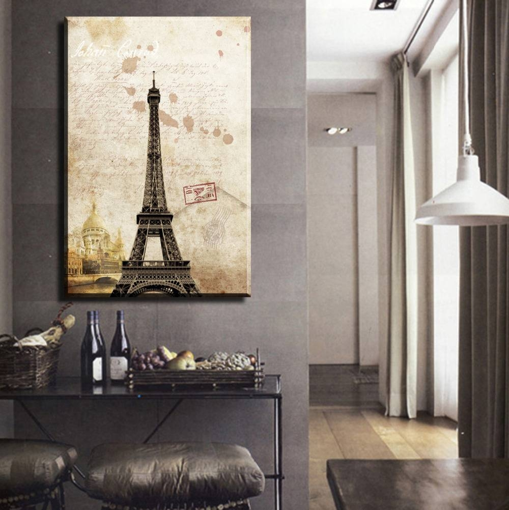 1 Piece Sell Paris Eiffel Tower Picture Printed On Canvas Arts Intended For Most Recent Eiffel Tower Wall Hanging Art (View 1 of 20)