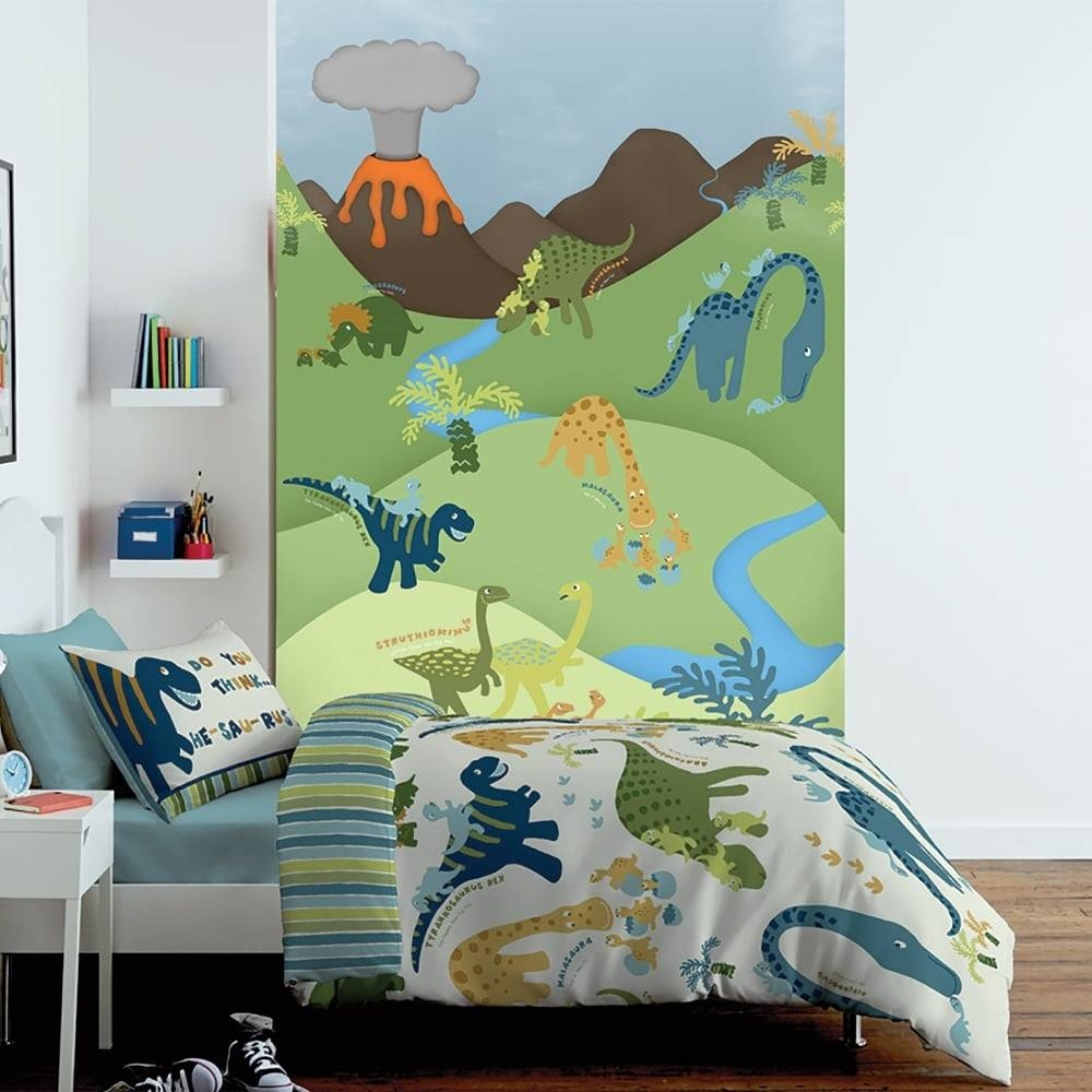 1 Wall Cartoon Dinosaur Childrens Mural Kids Wall Art 1.58 X 2.32M Within Newest Dinosaur Wall Art For Kids (Gallery 11 of 20)