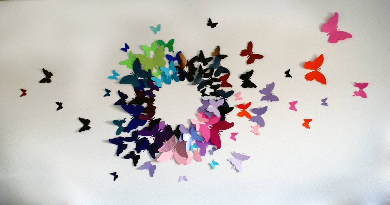 100 3D Butterfly Wall Art Circle Burst Within 2017 Circles 3D Wall Art (View 1 of 20)