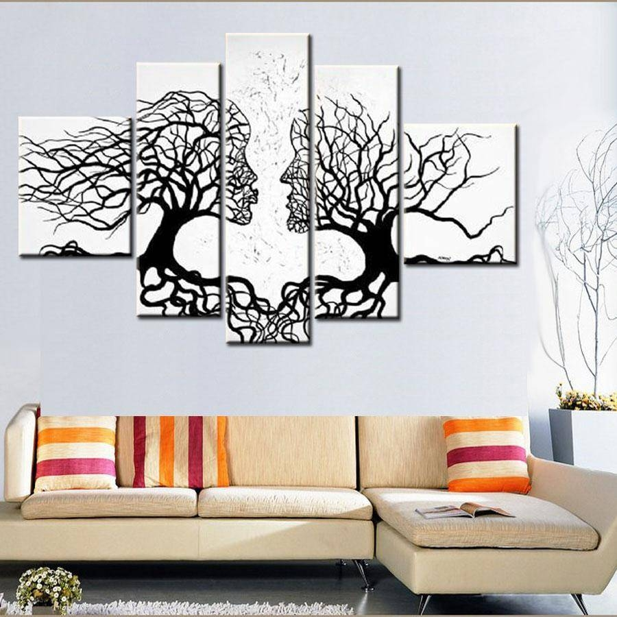 100% Hand Made Promotion Black White Tree Canvas Painting Abstract For 2017 Cheap Black And White Wall Art (View 15 of 20)