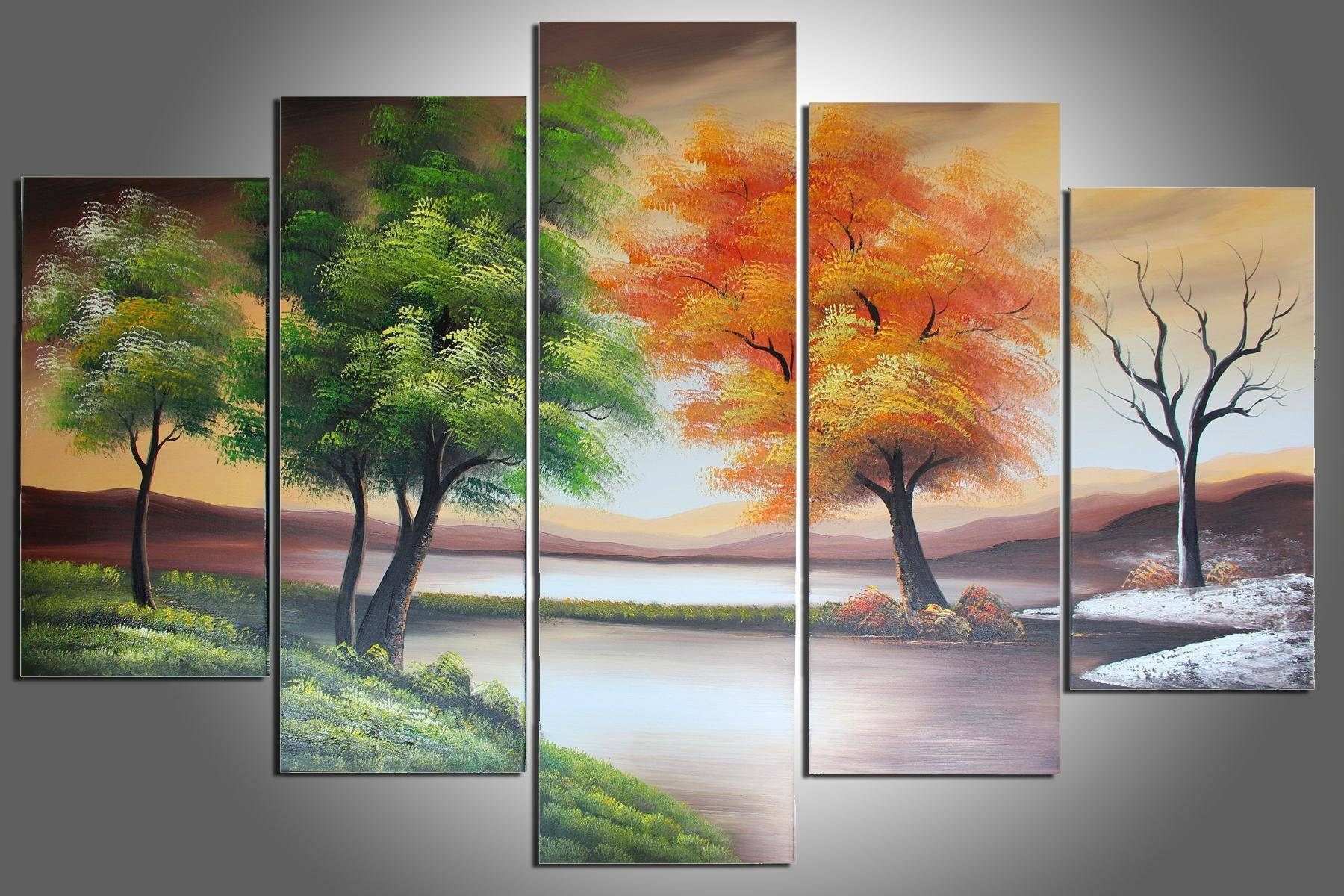 100% Hand Painted Four Seasons Trees Abstract Oil Painting Wall With Most Current Oil Painting Wall Art On Canvas (View 6 of 20)