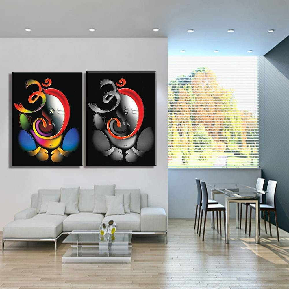 100% Hand Painted Om Ganesha Ganpati Oil Painting On Canvas With Regard To 2018 Ganesh Wall Art (View 1 of 20)