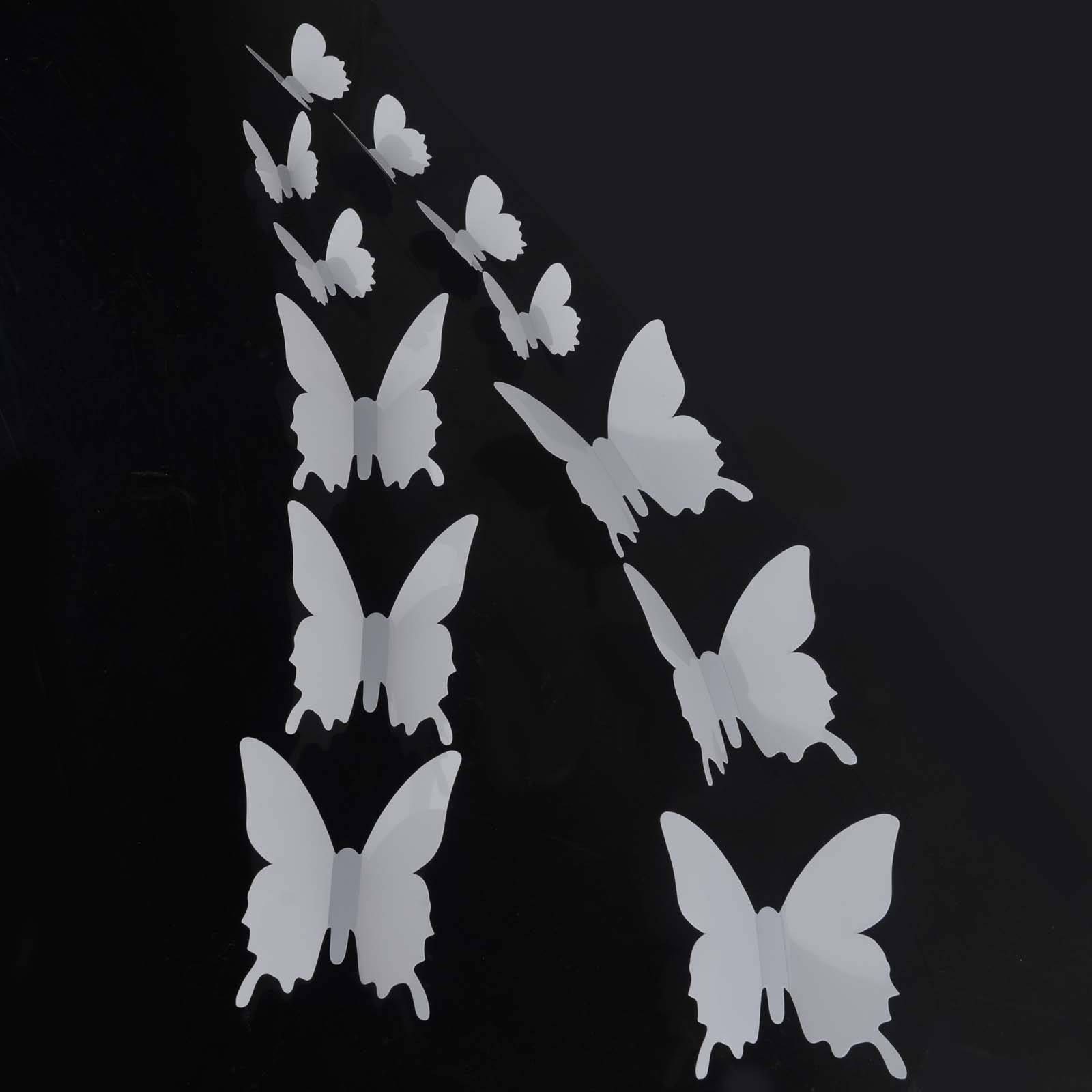 12Pcs 3D Butterfly Sticker Art Design Decal Wall Stickers Home With Regard To Recent White 3D Butterfly Wall Art (View 2 of 20)
