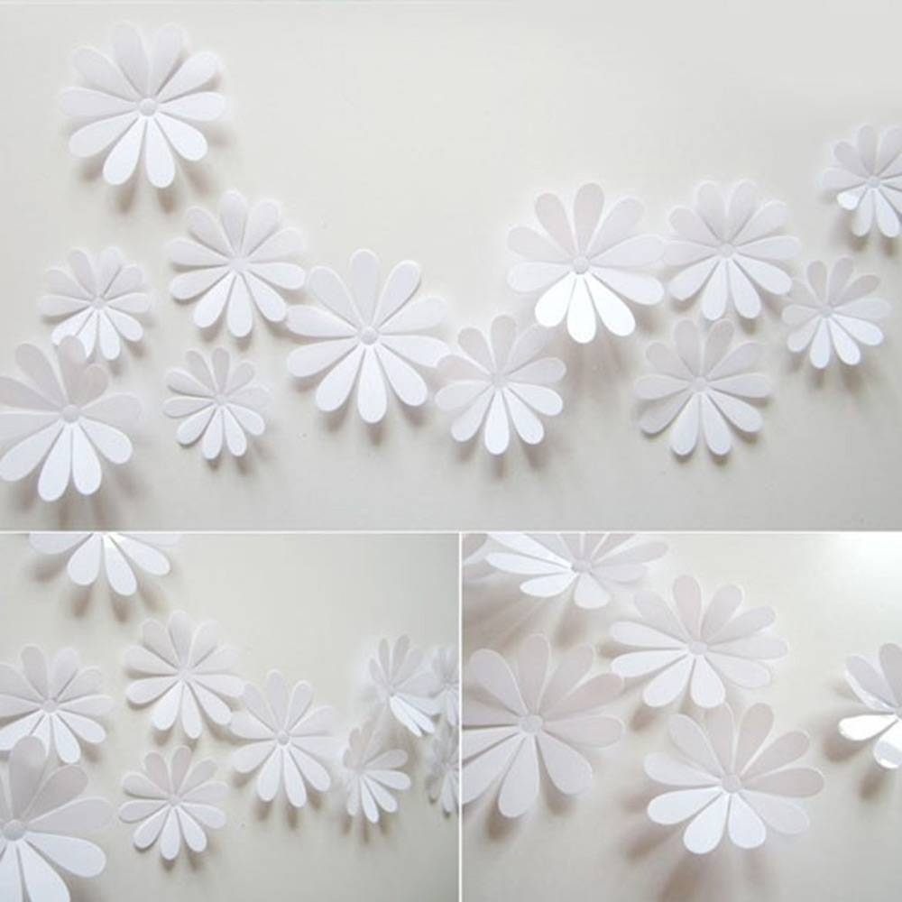 12Pcs 3D Diy Art Flowers Home Decor Tv Wall Stick Nursery Room In Best And Newest Flowers 3D Wall Art (View 1 of 20)