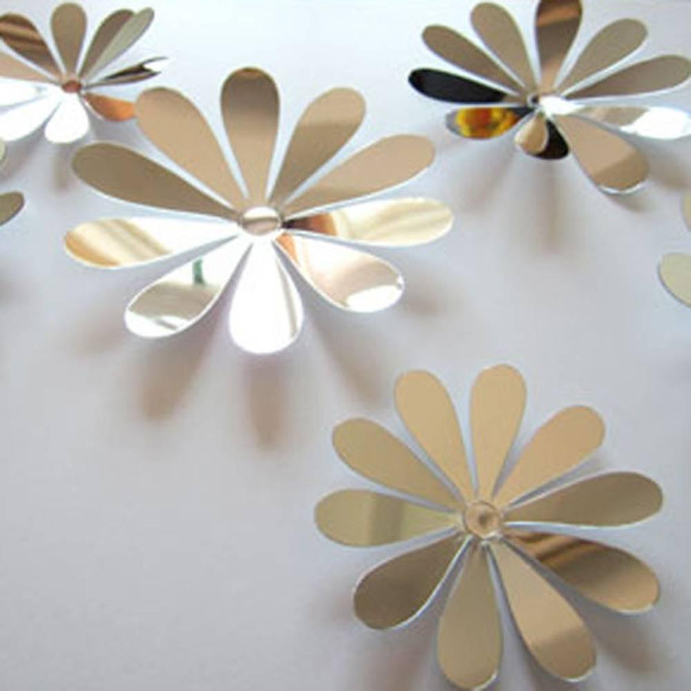 12Pcs 3D Diy Art Flowers Home Decor Tv Wall Stick Nursery Room Inside Newest 3D Paper Wall Art (View 21 of 25)