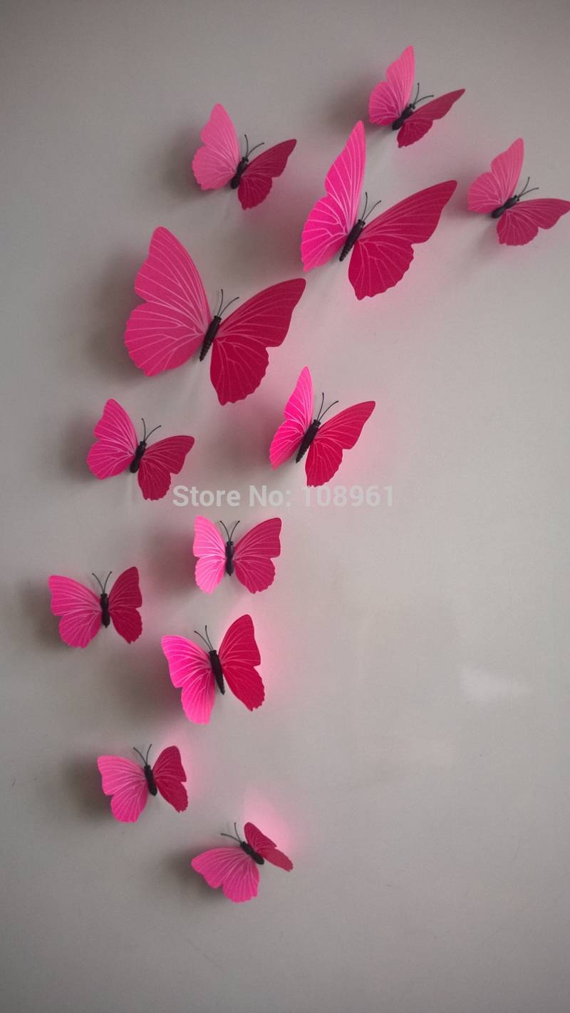 12Pcs 3D Monochrome Butterfly Wall Stickers With Adhesive Art Inside Latest Diy 3D Wall Art Butterflies (View 1 of 20)