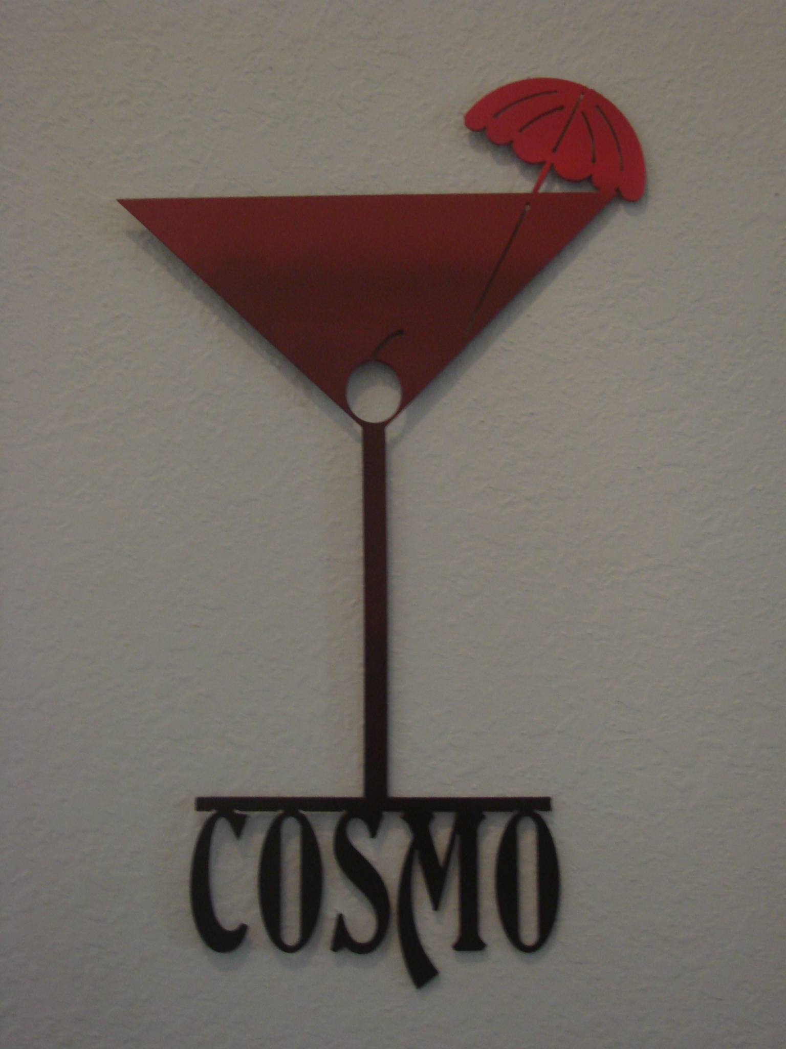 16 Gauge Ombre Red To Black Cosmopolitan Martini Glass Metal Wall Throughout Most Recently Released Martini Glass Wall Art (View 1 of 30)