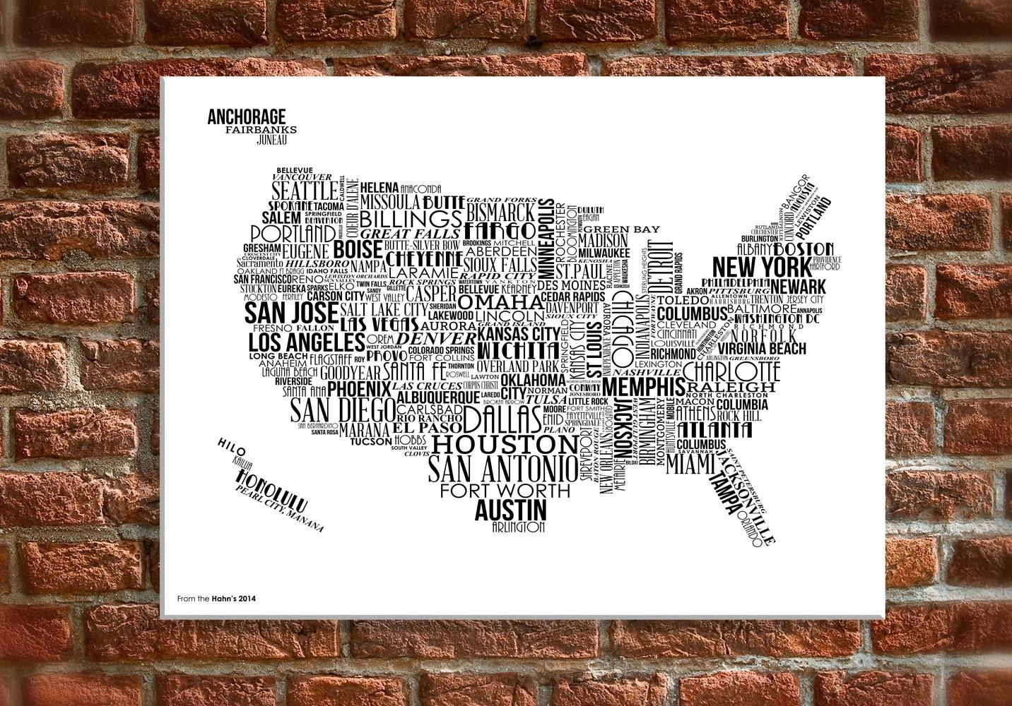 "16 X 20"" Canvas Wall Art – Usa Map With White Text Within Best And Newest Us Map Wall Art (View 7 of 20)"