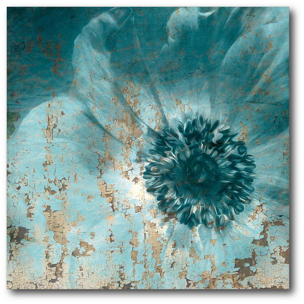 Featured Photo of Teal Flower Canvas Wall Art
