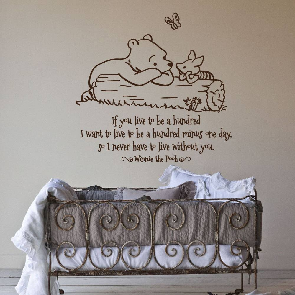 17 Nursery Wall Decals And How To Apply Them | Keribrownhomes With Regard To Newest Winnie The Pooh Nursery Quotes Wall Art (View 1 of 20)