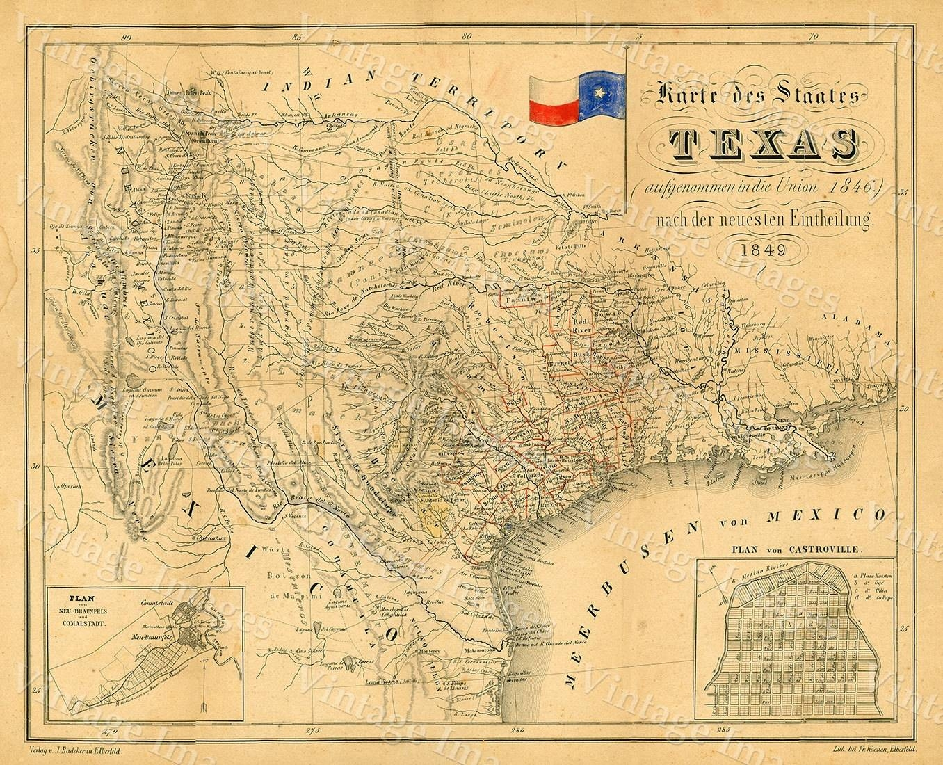 1849 Map Of Texas Old Texas Map Texas Map Of Texas Vintage Throughout Most Recent Vintage Map Wall Art (View 1 of 20)