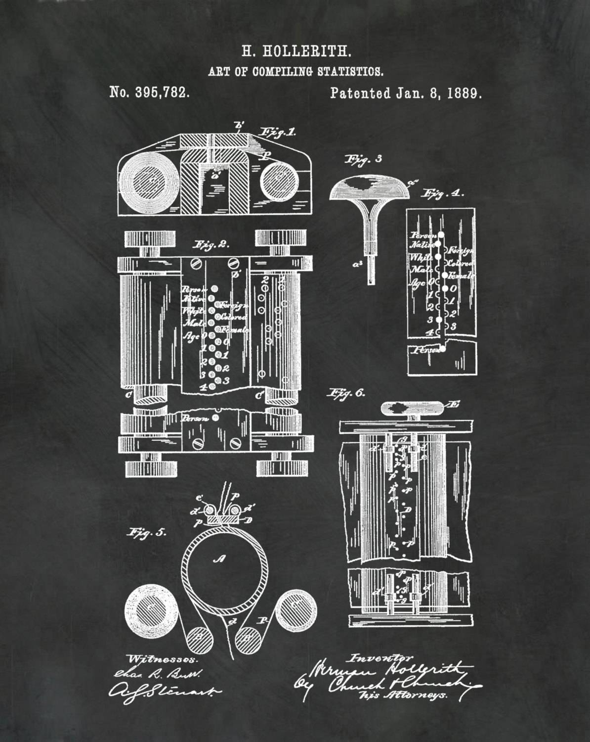 1889 First Computer Patent Print – Art Of Compiling Statistics With Latest Computer Wall Art (View 19 of 20)