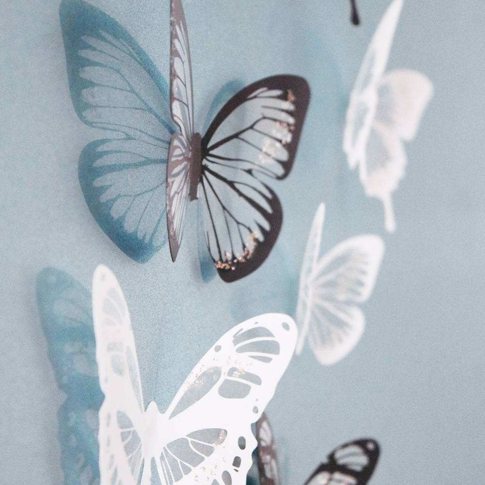 18pcs Creative Butterflies 3d Wall Stickers Pvc Removable Decors Intended For 2017 3d Removable Butterfly Wall Art Stickers (View 12 of 20)