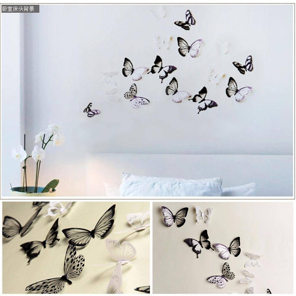 18Pcs/lot Creative 3D Butterfly Stickers Pvc Removable Wall Decor In Most Recently Released Diy 3D Butterfly Wall Art (View 2 of 20)