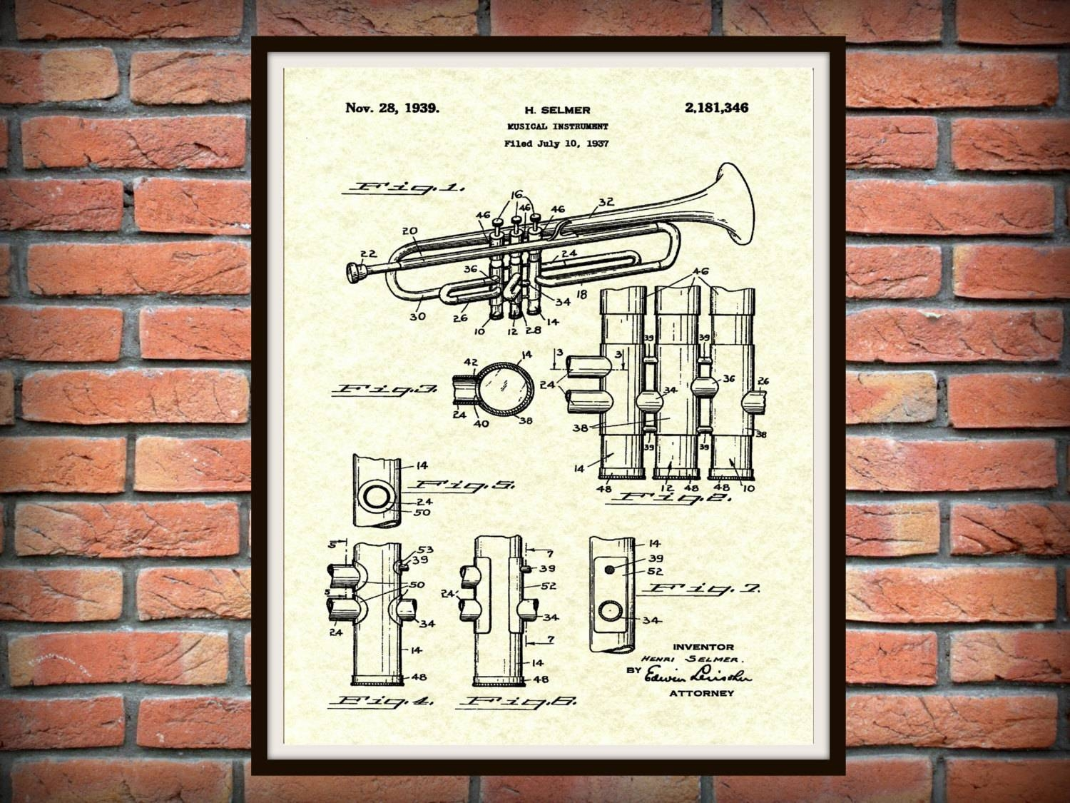 1939 Trumpet Patent Print Musical Instrument Brass Inside Most Recent Musical Instrument Wall Art (View 1 of 25)