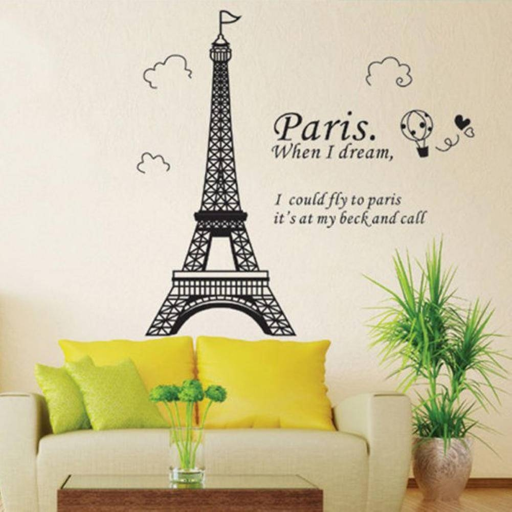 1Pcs Pvc Removable Romantic Eiffel Tower Wall Sticker Window Door Pertaining To Most Current Eiffel Tower Wall Art (View 13 of 20)