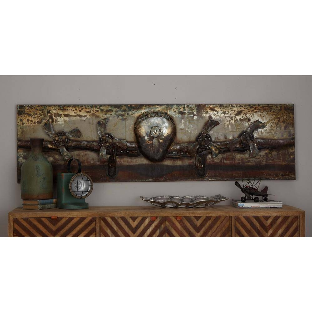20 In. X 71 In. Vintage 3D Iron Airplane Wall Art 38567 – The Home For Best And Newest Vintage 3D Wall Art (Gallery 4 of 20)