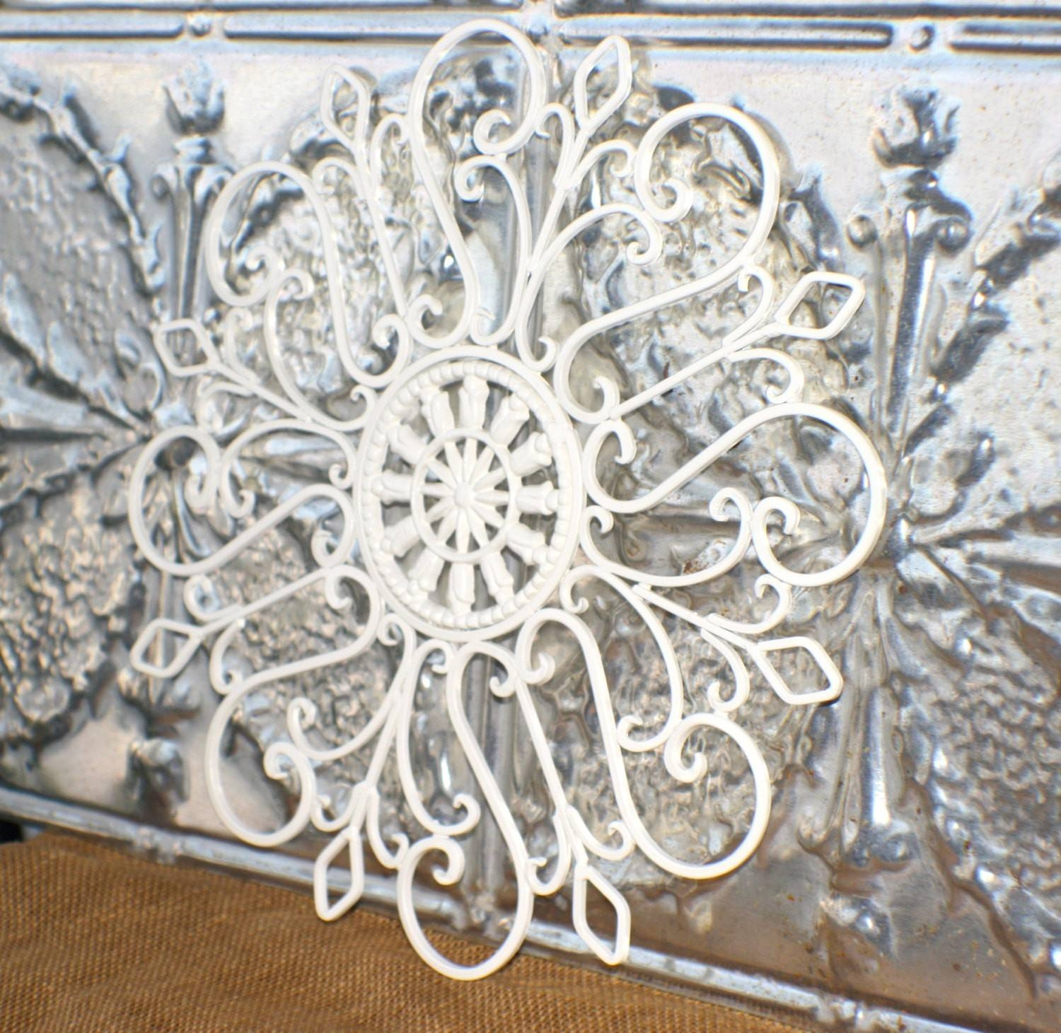 2014 Outdoor Decor Ideas – Metal Wall Art Medallion/ Creamy White Within Newest Cream Metal Wall Art (View 3 of 20)