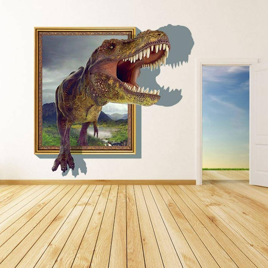 2015 3D Wall Stickers For Kids Rooms Boys Dinosaur Decals For Baby Intended For Most Recently Released Vinyl 3D Wall Art (View 1 of 20)