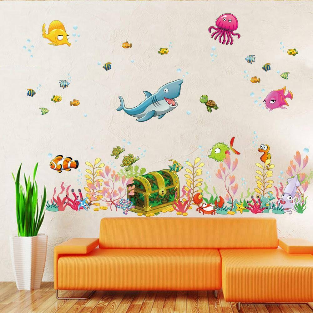 2015 New Sea World Childrens Room Wall Sticker Ocean World Cartoon Within Most Popular Wall Art Stickers For Childrens Rooms (View 1 of 20)