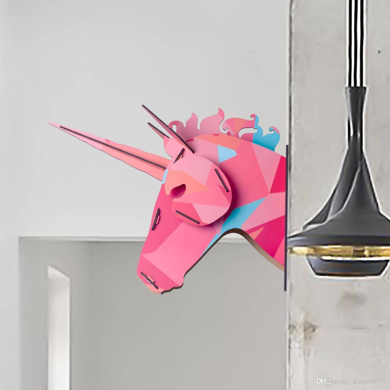 2016 New Band 3D Wooden Animal Horse Unicorn Head Wall Sticker Throughout Newest 3D Unicorn Wall Art (View 1 of 20)