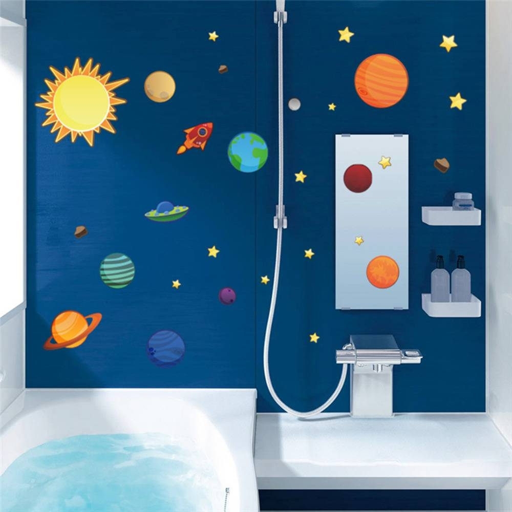 2016 New Creative Solar System Wall Stickers Plane Wall Paper Kids Inside Current Solar System Wall Art (View 1 of 25)