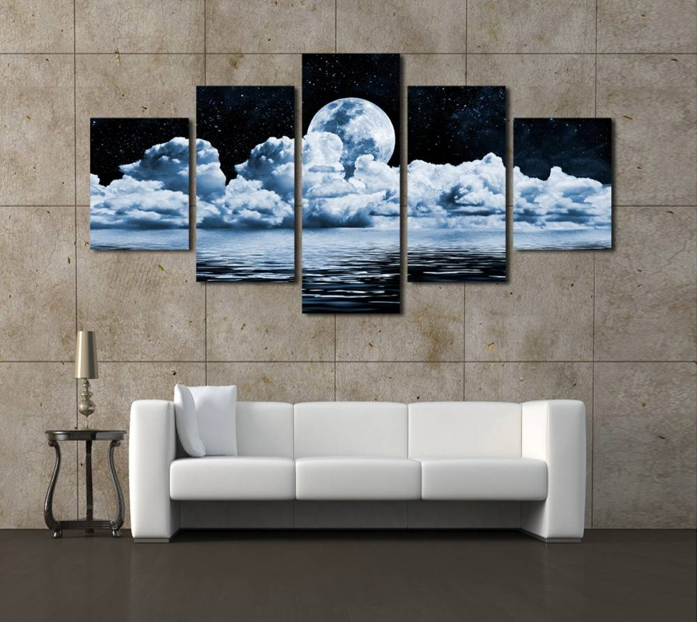2016 Real Canvas Painting Cheap Wall Frames 5 Panels Moon Canvas For Most Recently Released Cheap Modern Wall Art (View 18 of 20)