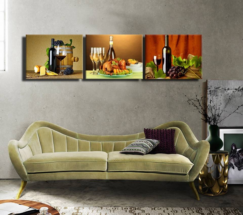 2016 Rushed 3Pcs Modern Canvas Paintings Matching Wine And Food Inside 2018 Matching Wall Art Set (View 2 of 15)
