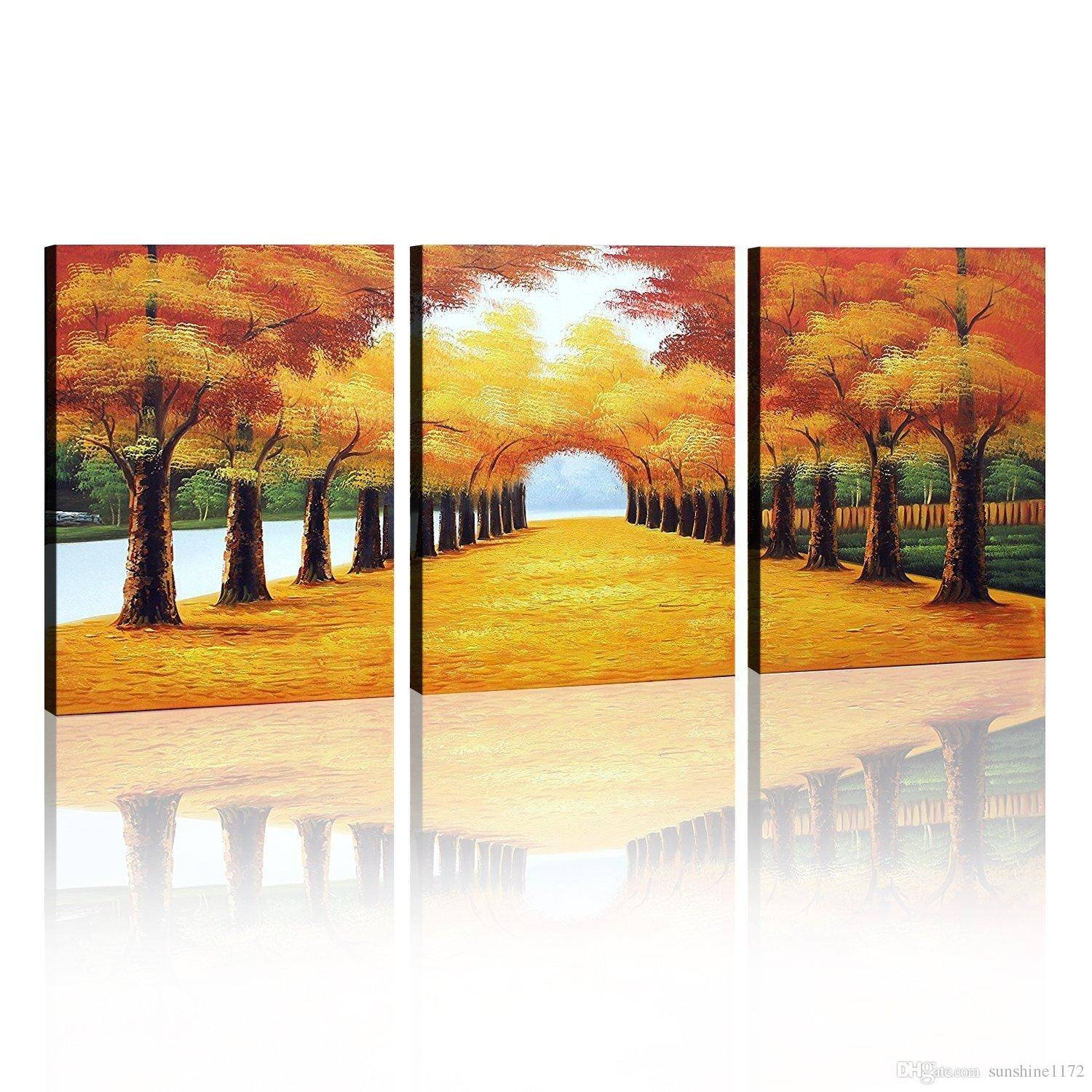 2017 100% Handmade Oil Painting Wall Art Decoration Deciduous In Most Recently Released 3 Piece Wall Art (View 5 of 30)