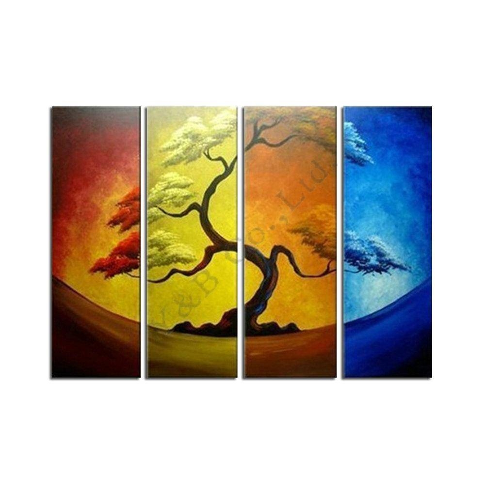 2017 Abstract Four Color Yellow Pine Tree Oil Painting Hand Intended For Best And Newest Pine Tree Wall Art (View 22 of 30)