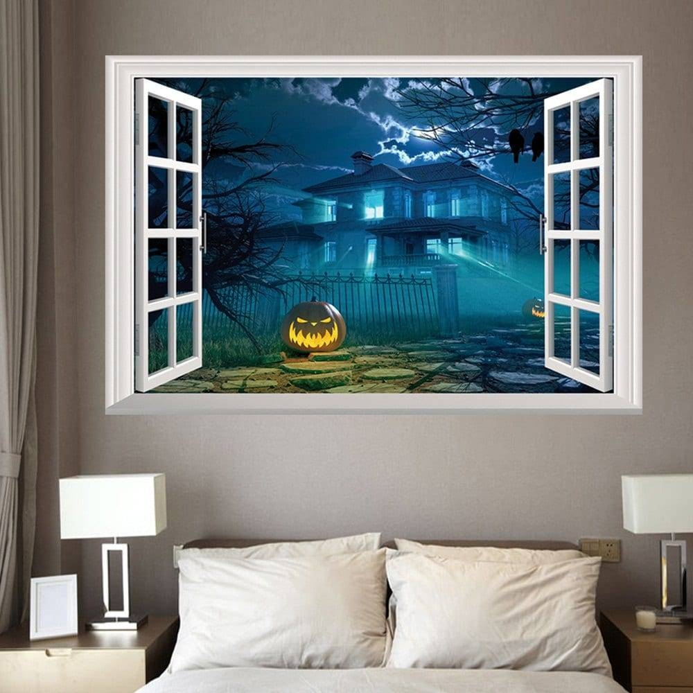 2017 Halloween 3D Window Gruesome Castle Wall Sticker Deep Blue Intended For Latest Venezuela Wall Art 3D (Gallery 13 of 20)