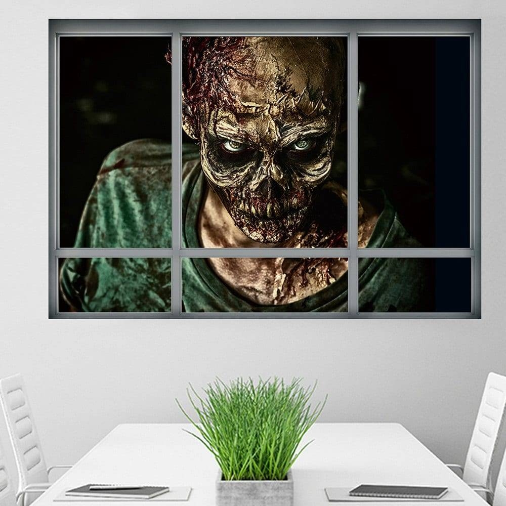 2017 Halloween Window Zombie 3D Wall Art Sticker Colormix . Cm In Pertaining To Recent Venezuela Wall Art 3D (Gallery 5 of 20)