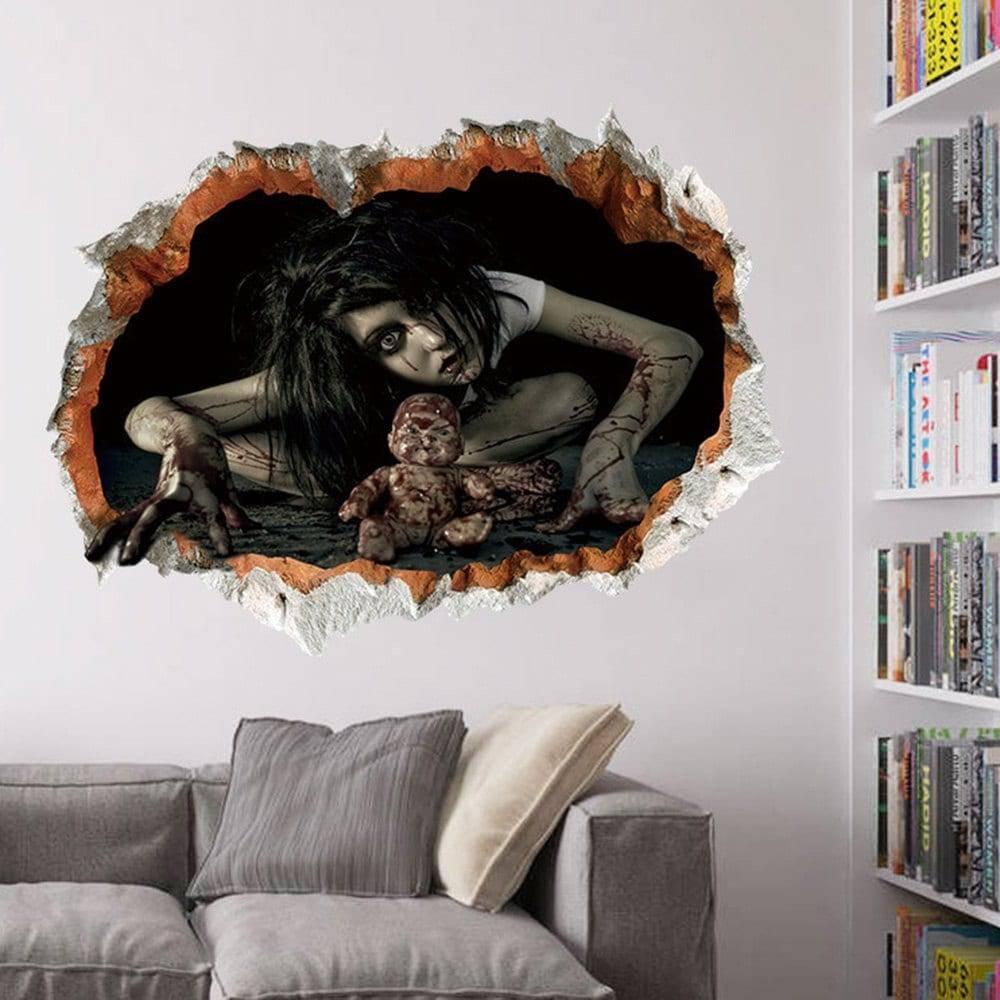 2017 Halloween Zombie 3D Broken Wall Art Sticker Black In Wall In Best And Newest Venezuela Wall Art 3D (Gallery 10 of 20)