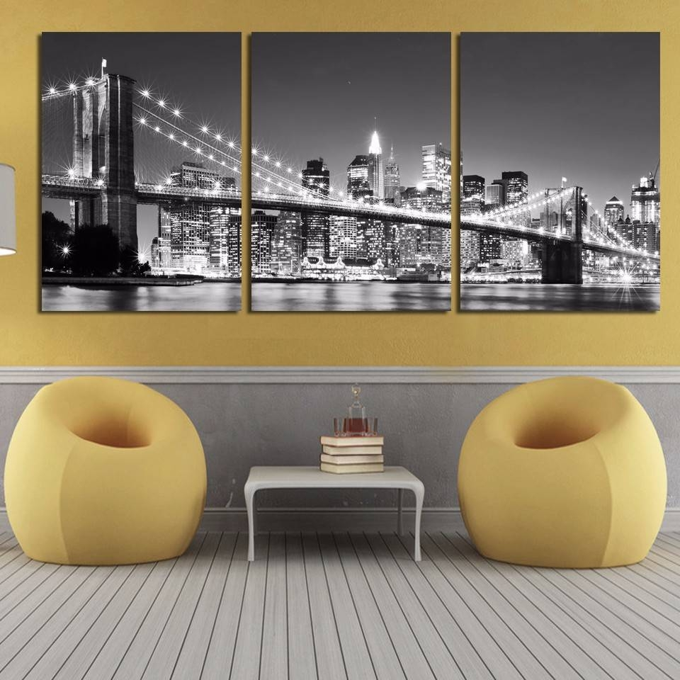 2017 Hot Sale Modern Beautiful New York Brooklyn Bridge Night Pertaining To Latest Brooklyn Bridge Wall Decals (View 12 of 25)