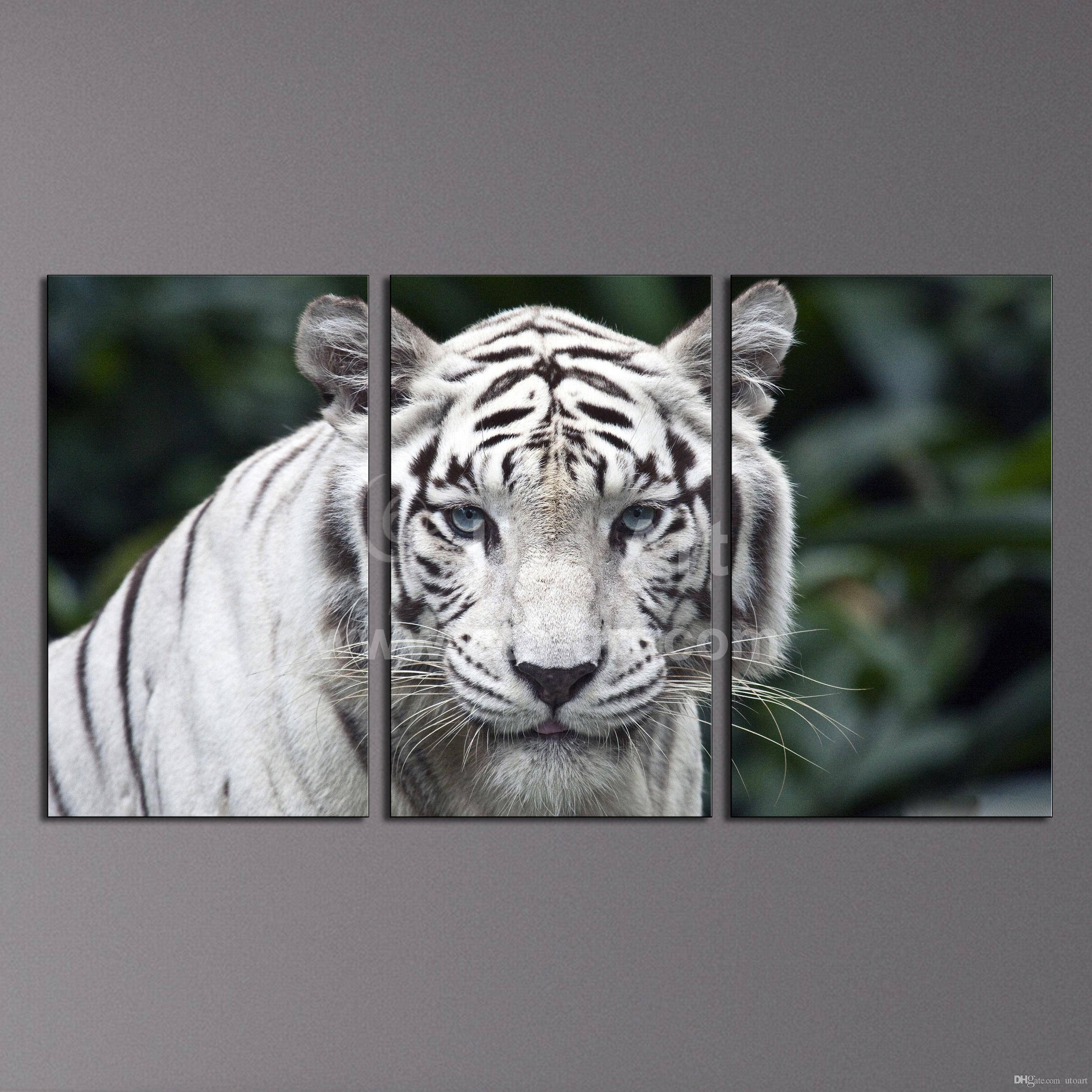 2017 Modern Wall Art Painting White Tiger Home Decor Canvas Within Latest 3 Piece Wall Art (View 12 of 30)