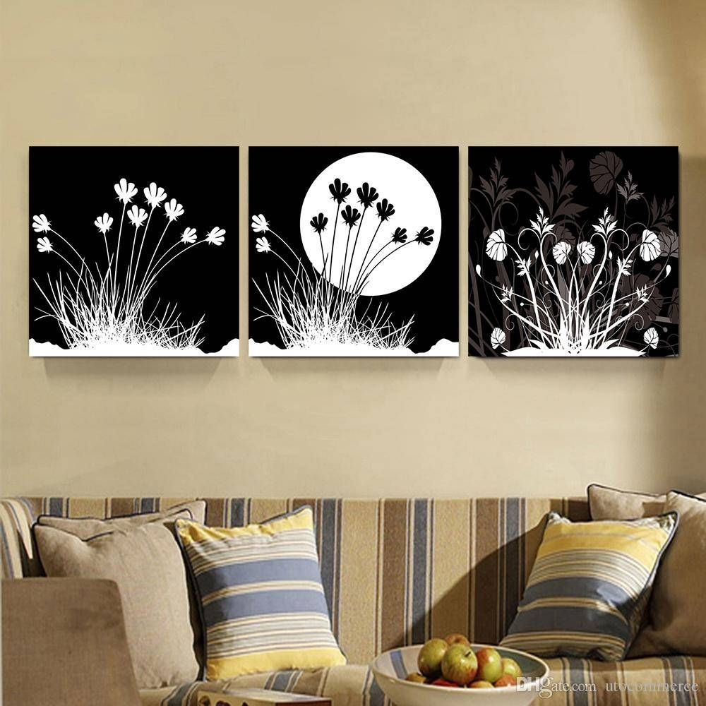 2017 Peace Large Modern 3 Panels Black White Moon Flower Landscape For Current Black And White Wall Art (View 9 of 16)