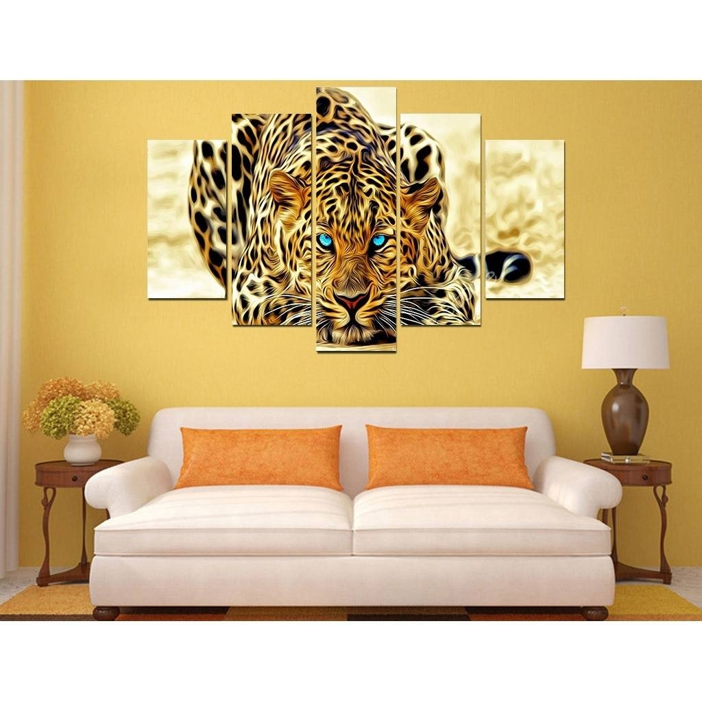 2017 Picture Print Painting Ferocious Cheetah Animal Canvas Wall Intended For Current Animal Canvas Wall Art (View 1 of 20)