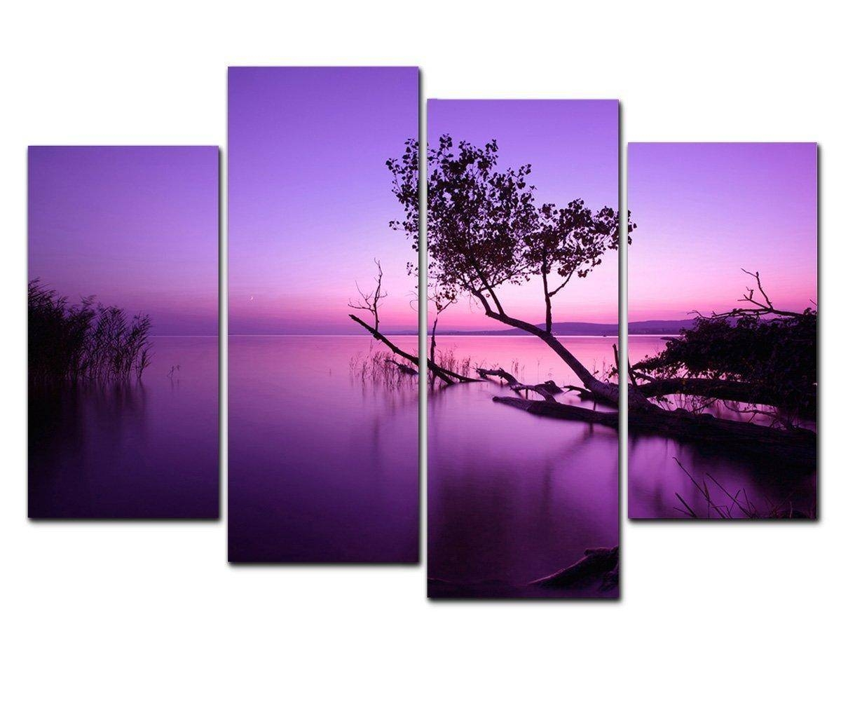 2017 Purple Lake Modern Giclee Artwork Sea Canvas Prints Picture Intended For Recent Purple Canvas Wall Art (View 12 of 20)