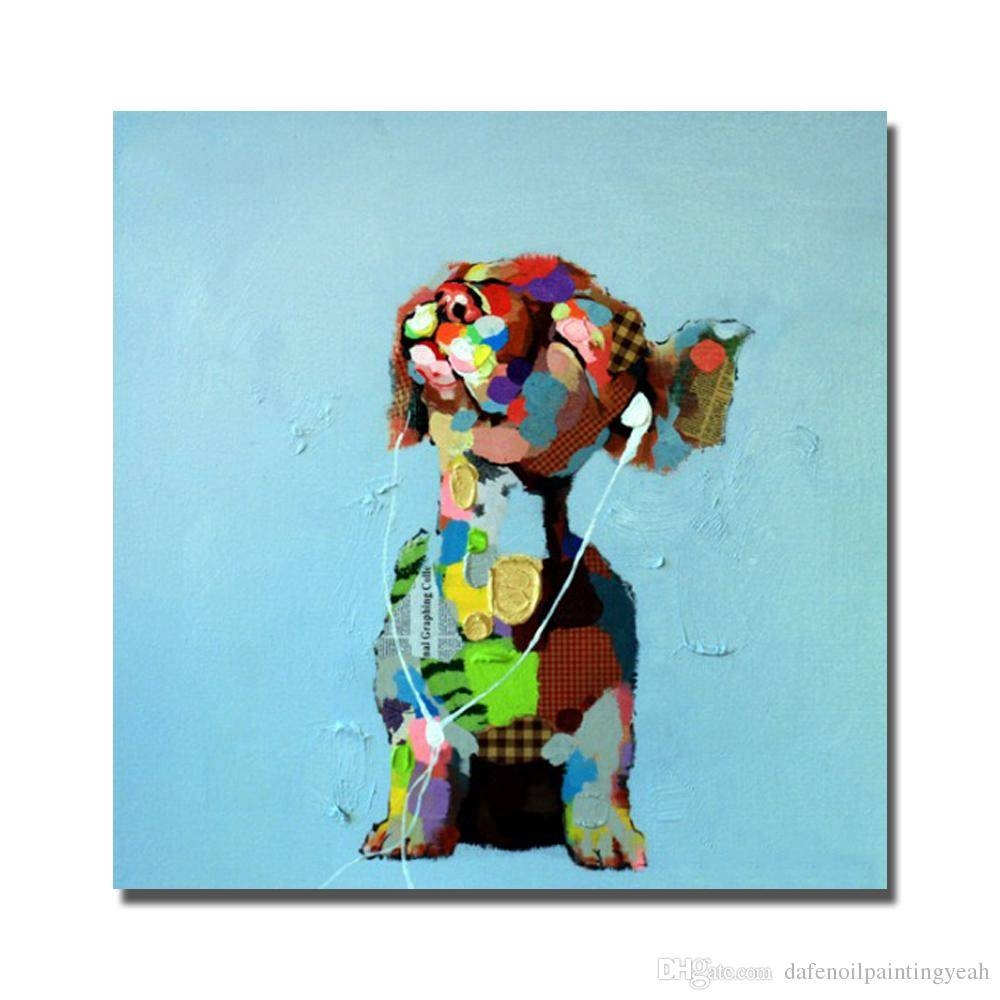 2018 1Peices Listen Music Dog Painting For Living Room Wall Modern In Current Dachshund Wall Art (View 1 of 22)