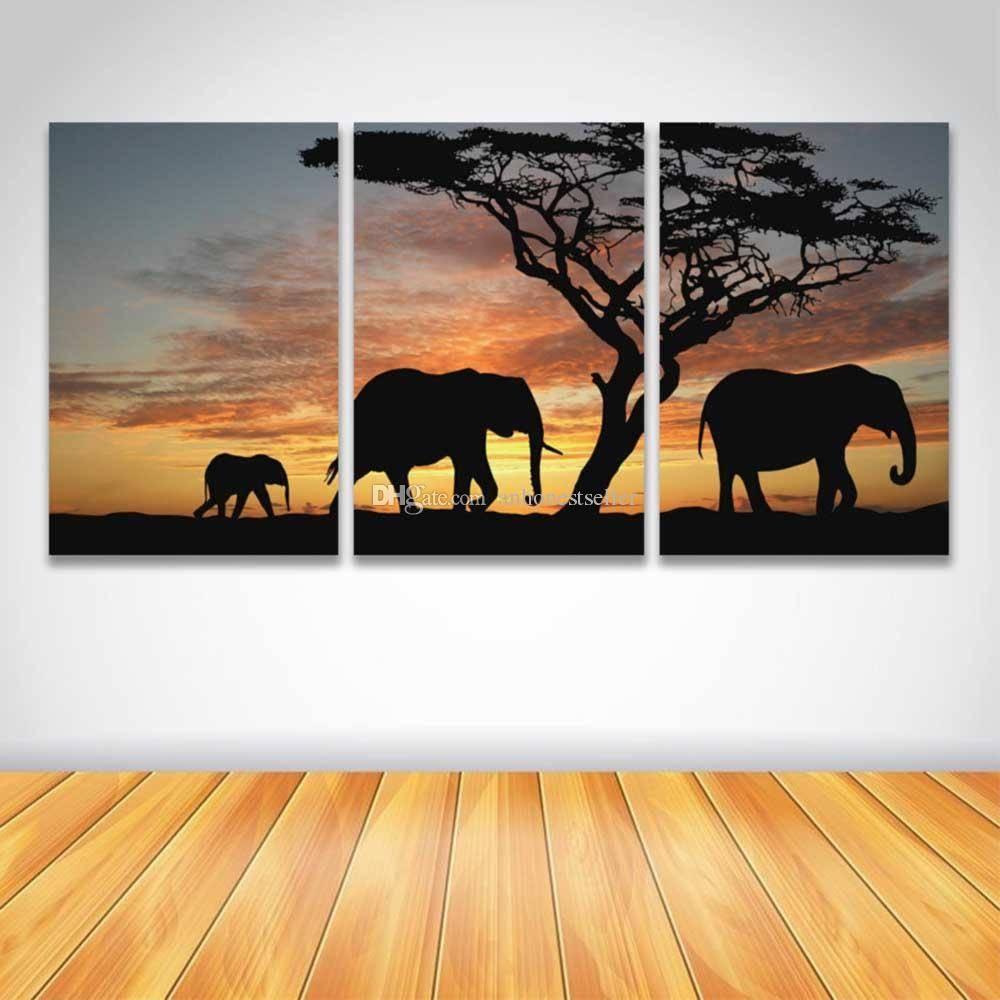 2018 3 Panel Hd Prints Canvas Wall Art Animal Sunset Landscape Intended For 2018 Animal Canvas Wall Art (View 10 of 20)