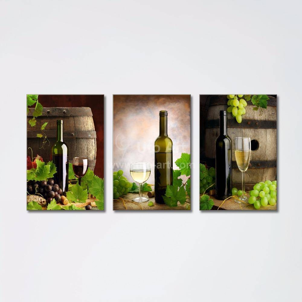 2018 3 Panel Wall Art Printed Painting Decor Grape Wine Bottle For 2018 Three Panel Wall Art (View 3 of 20)