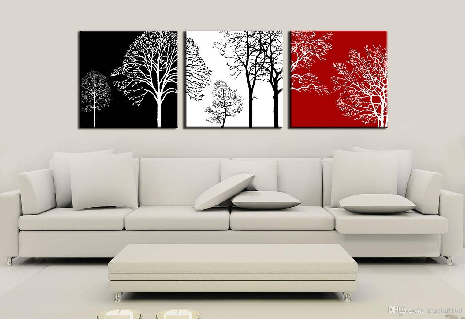 2018 3 Panels Unframed Tree Branch Simple Shadow Flying Leaves Intended For Best And Newest Tree Branch Wall Art (View 1 of 20)