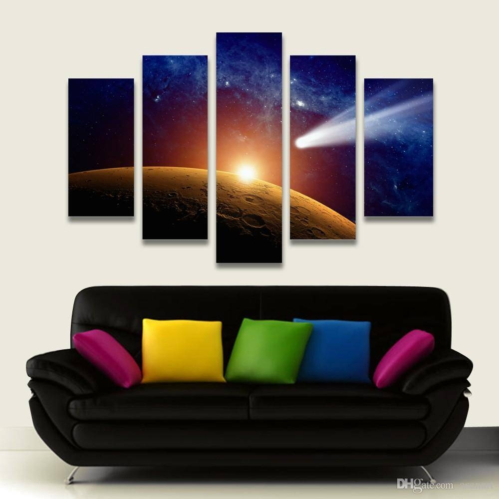 2018 5 Panel Painting Outer Space Moon Painting Canvas Art Prints Intended For Newest Outer Space Wall Art (View 1 of 25)