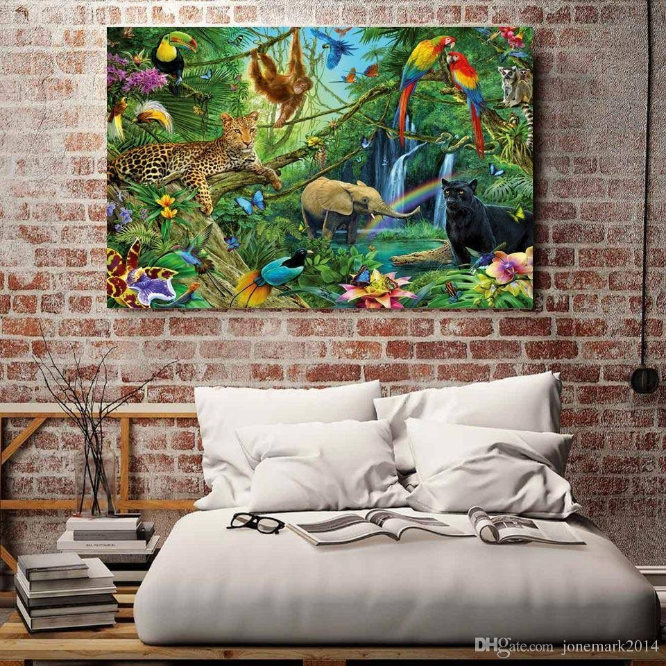 2018 Animals Kingdom Jungle Wall Art Canvas Pictures For Living Inside Best And Newest Jungle Canvas Wall Art (View 1 of 20)