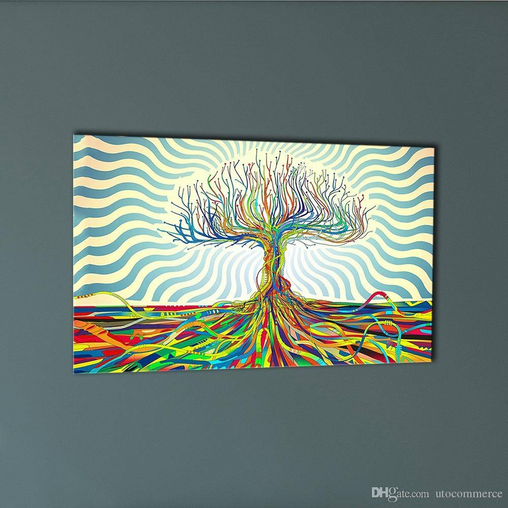 2018 Colourful Trees Trunks Canvas Painting Abstract Wall Art with Most Recently Released Colorful Abstract Wall Art