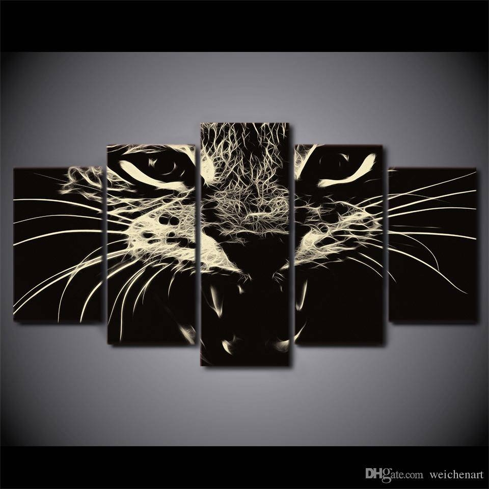 2018 Framed Hd Printed Black White Cat Group Painting Wall Art In Best And Newest Black And White Framed Wall Art (View 2 of 20)