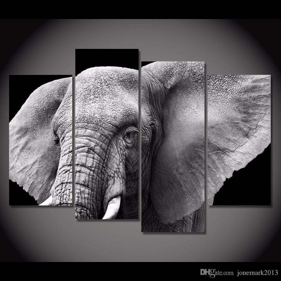 2018 Framed Hd Printed Black White Elephant Tusks Ear Picture Wall Intended For Latest Black And White Wall Art Sets (View 17 of 20)