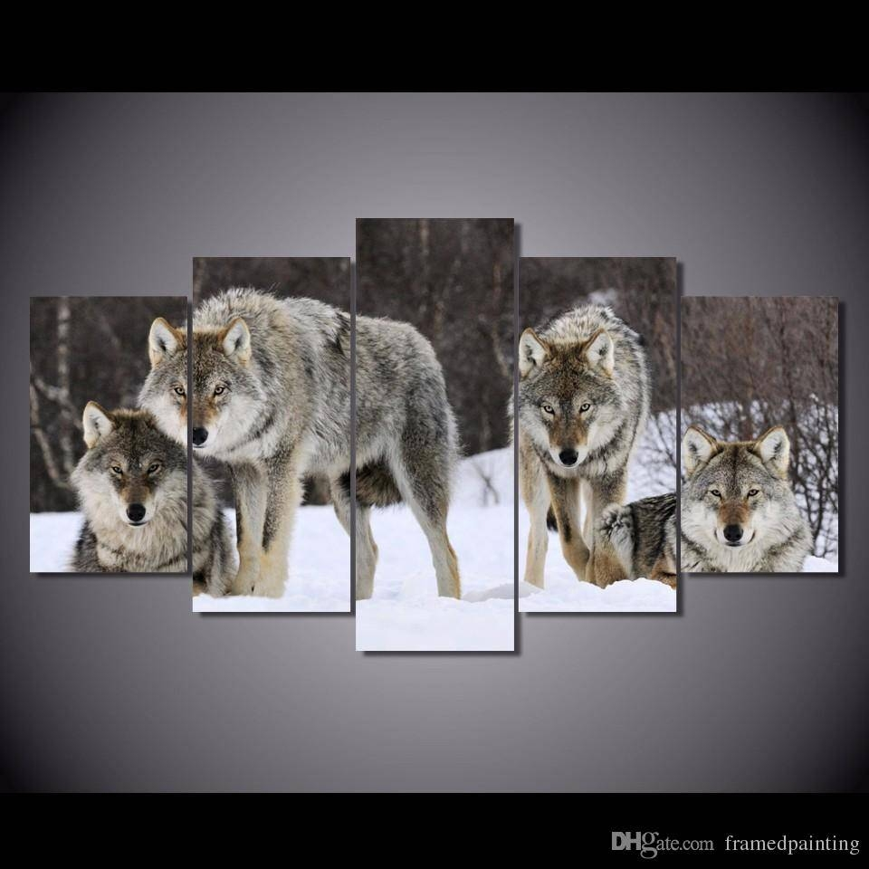 2018 Framed Hd Printed Wolf Pack Snow Animal Wall Art Canvas Print Regarding 2017 Animal Wall Art (View 1 of 25)