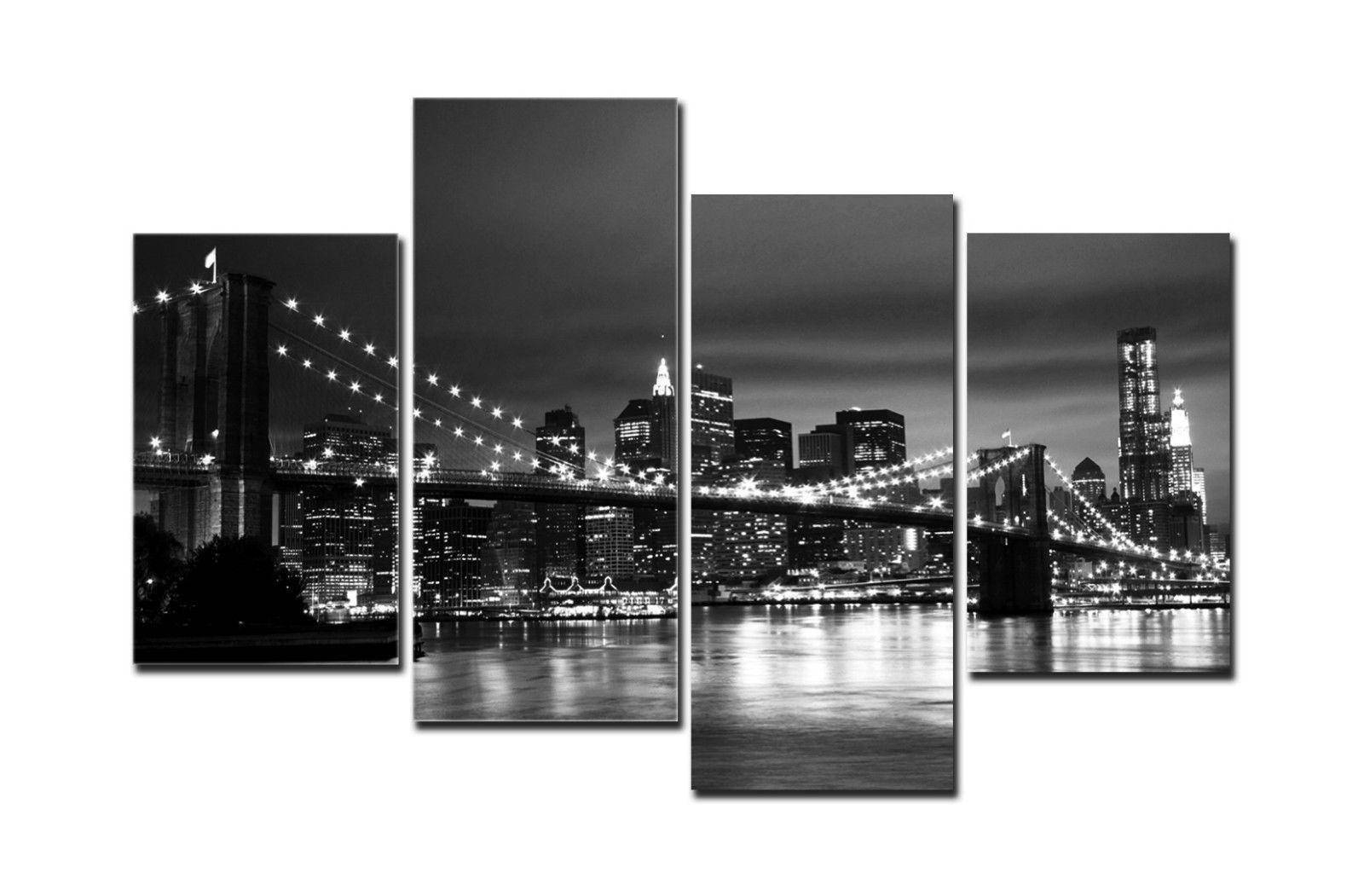 2018 Hd Canvas Print Home Decor Wall Art Painting New York Bridge Inside Recent Black And White New York Canvas Wall Art (View 17 of 20)
