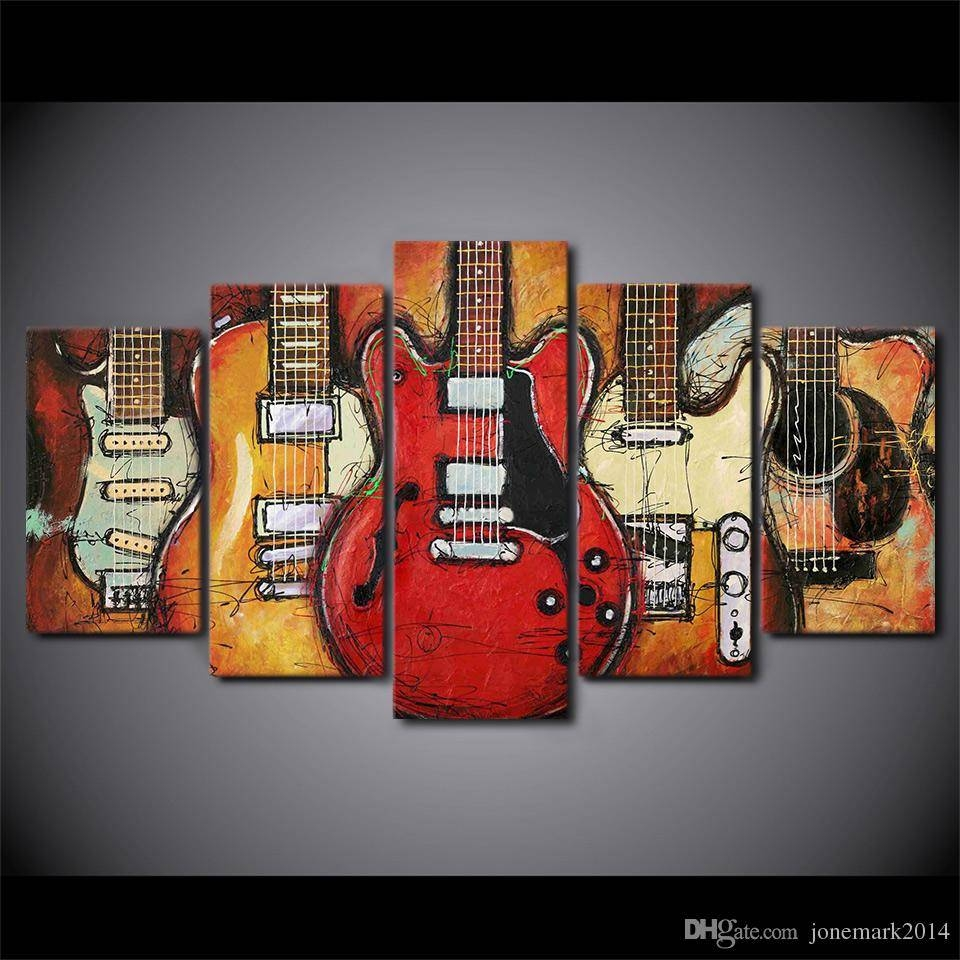 2018 Hd Printed Canvas Art Guitar Instruments Music Painting Decor Intended For Most Recently Released Guitar Canvas Wall Art (View 1 of 20)